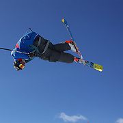 David Wise, USA, in action in the Men's Halfpipe Finals during The North Face Freeski Open at Snow Park, Wanaka, New Zealand, 3rd September 2011. Photo Tim Clayton...