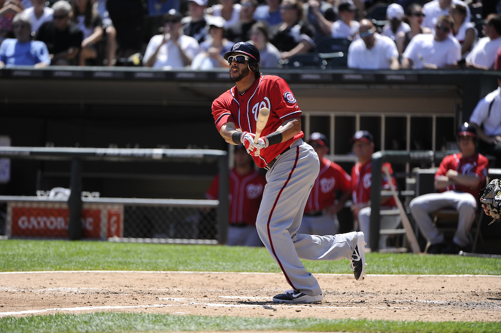 CHICAGO, IL - JUNE 26:  Michael Morse #38 of the Washington Nationals bats against the Chicago White Sox on June 26, 2011 at U.S. Cellular Field in Chicago, Illinois.  The Nationals defeated the White Sox 2-1.  (Photo by Ron Vesely/MLB Photos via Getty Images)  *** Local Caption *** Michael Morse