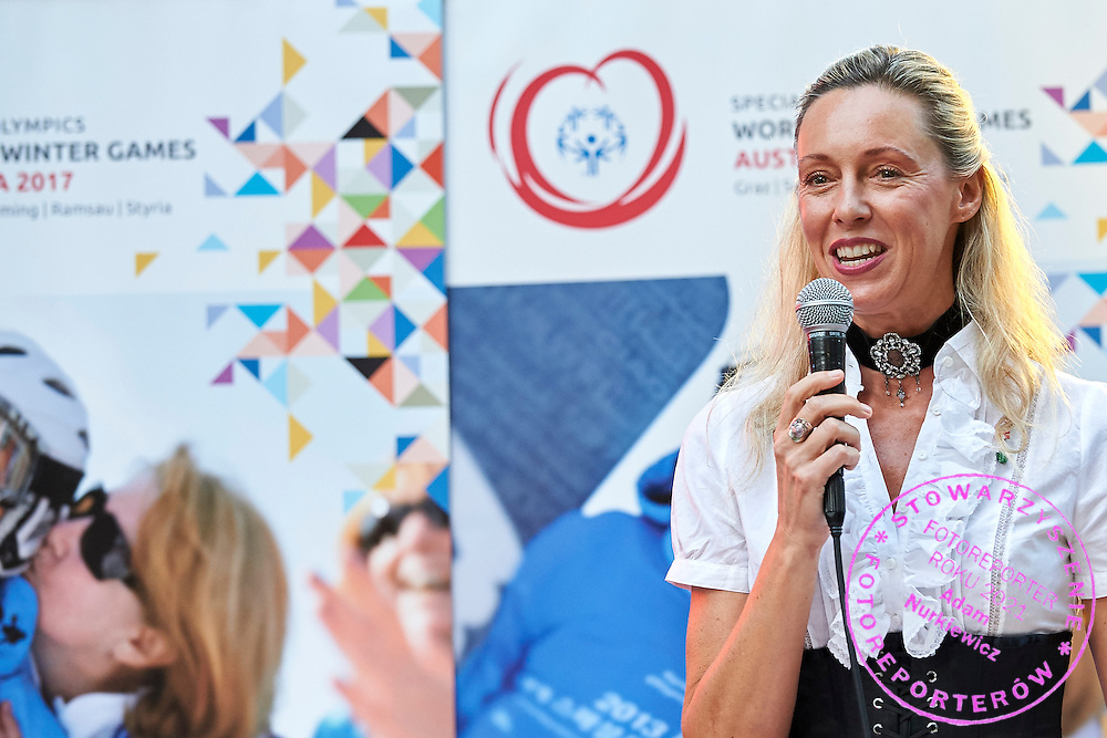Ulrike Ritzinger speaks while Austria 2017 Reception during third day of the Special Olympics World Games Los Angeles 2015 on July 27, 2015 in Los Angeles, USA.<br /> <br /> USA, Los Angeles, July 27, 2015<br /> <br /> Picture also available in RAW (NEF) or TIFF format on special request.<br /> <br /> For editorial use only. Any commercial or promotional use requires permission.<br /> <br /> Adam Nurkiewicz declares that he has no rights to the image of people at the photographs of his authorship.<br /> <br /> Mandatory credit:<br /> Photo by &copy; Adam Nurkiewicz / Mediasport