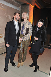 Left to right, DAVID WADDINGTON, JAMES JEANETTE and PRINCESS JULIA at a dinner hosted by Jonathan Saunders, Fantastic Man & Selfridges to celebrate Jonathan Saunders AW13 Menswear collection and London Collections held at the Old Selfridges Hotel,  Orchard Street, London on 8th January 2013.