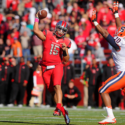 Oct 13, 2012: Rutgers Scarlet Knights quarterback Gary Nova (15) passes during NCAA Big East college football action between the Rutgers Scarlet Knights and Syracuse Orange at High Point Solutions Stadium in Piscataway, N.J.