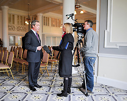 © Licensed to London News Pictures. 24/03/2015. Folkstone, UK. NIGEL FARAGE gives a TV interview.  Harriet Yeo has been named as Ukip's new Folkestone and Hythe general election candidate following the expulsion of Janice Atkinson over allegations of an inflated expenses claim.. Photo credit : Stephen Simpson/LNP