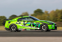 © Licensed to London News Pictures. 16/10/2018. York UK.  Mike Little drives his two & a half thousand bhp Nissan GTR on Elvington runway near York today in attempt to break the world record for fastest GTR in the world as part of the straightliners speed event. Photo Credit: Andrew McCaren/LNP