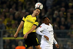 DORTMUND, Sept. 15, 2018  Sebastien Haller of Eintracht Frankfurt and Thomas Delaney of Borussia Dortmund fight for the ball during the Bundesliga match between Borussia Dortmund and Eintracht Frankfurt at Signal Iduna Park in Dortmund, Germany, on Sept. 14, 2018. Dortmund won 3-1. (Credit Image: © Joachim Bywaletz/Xinhua via ZUMA Wire)