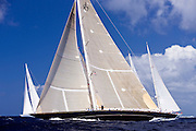 J Class Velsheda, Ranger, and Adela sailing in the Butterfly Race at the Antigua Classic Yacht Regatta.