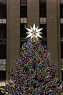 Rockefeller Center Christmas tree and ornaments including  the Swarovski Crystal star New York city on December 22 2007