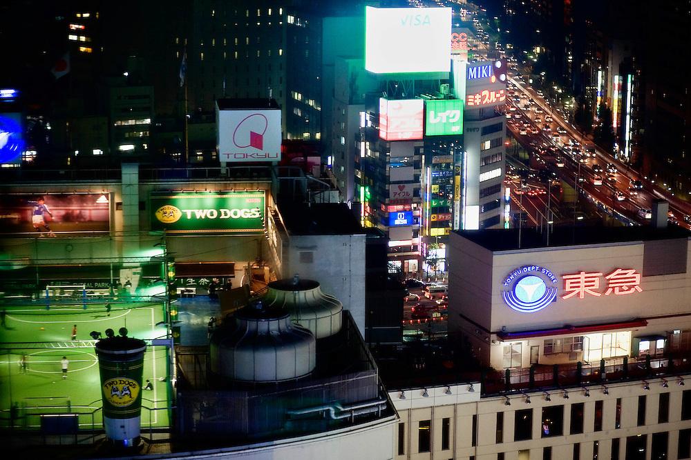 Japan, Tokyo. <br /> A night scene of the city.&copy;Carmen Secanella.