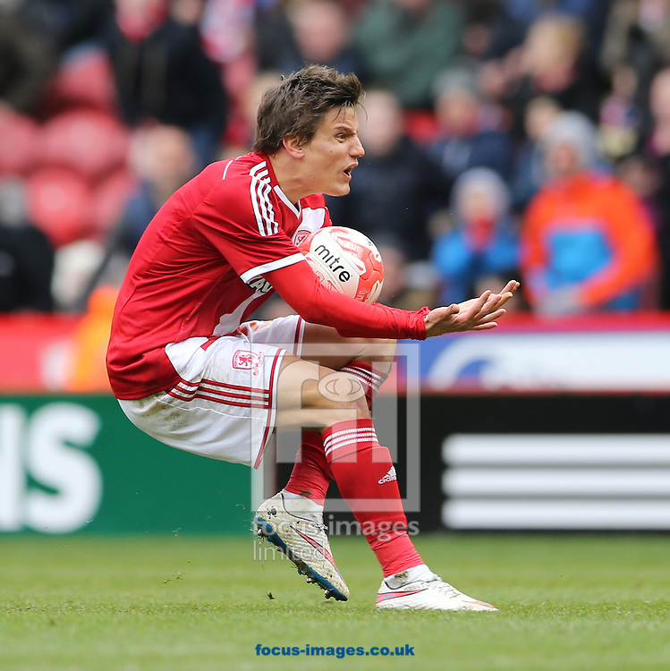 Jelle Vossen of Middlesbrough reacts to been given offside during the Sky Bet Championship match at the Riverside Stadium, Middlesbrough<br /> Picture by Simon Moore/Focus Images Ltd 07807 671782<br /> 14/03/2015