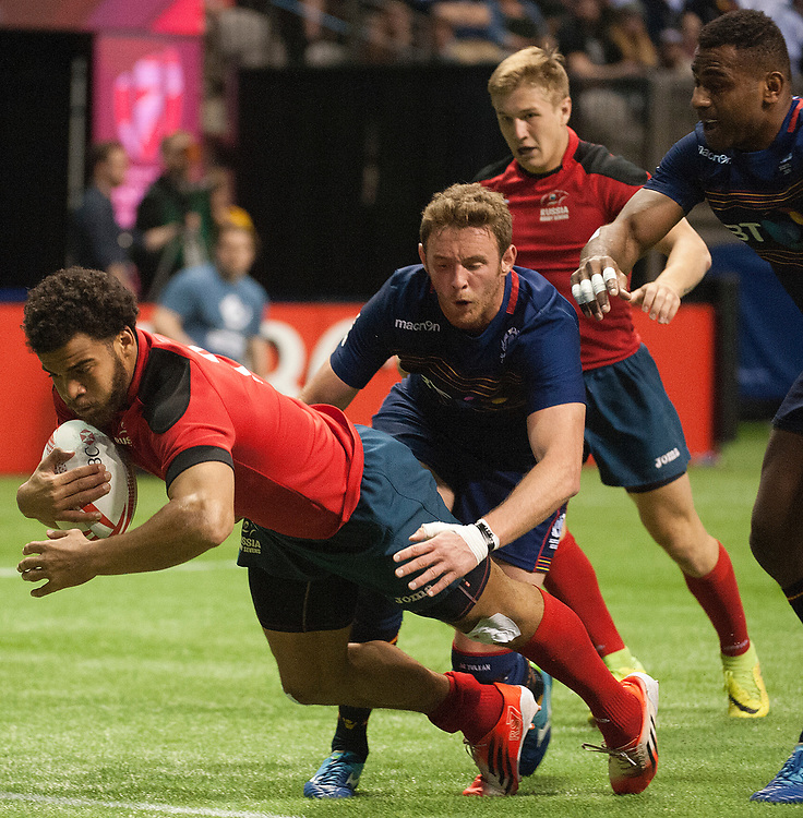 during the pool stages of the Canada Sevens,  Round Six of the World Rugby HSBC Sevens Series in Vancouver, British Columbia, Saturday March 11, 2017. <br /> <br /> Jack Megaw.<br /> <br /> www.jackmegaw.com<br /> <br /> jack@jackmegaw.com<br /> @jackmegawphoto<br /> [US] +1 610.764.3094<br /> [UK] +44 07481 764811