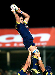 Matt Cox of Worcester Warriors catches the ball from the line out - Mandatory by-line: Robbie Stephenson/JMP - 04/11/2016 - RUGBY - Sixways Stadium - Worcester, England - Worcester Warriors v Bristol Rugby - Anglo Welsh Cup