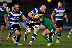 Matt Garvey of Bath Rugby takes on the London Irish defence - Photo mandatory by-line: Patrick Khachfe/JMP - Mobile: 07966 386802 24/04/2015 - SPORT - RUGBY UNION - Bath - The Recreation Ground - Bath Rugby v London Irish - Aviva Premiership