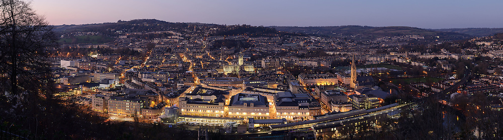 Bath panoramic city skyline