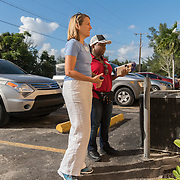 NORTH MIANI, FLORIDA, NOVEMBER 8, 2016<br /> Move On volunteers Francie Peake, left, and  Nelzenna Andrews  knock on doors of homes of voters in the North Miami area as they canvass for democratic votes.<br /> (Photo by Angel Valentin/Freelance)