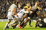 Duhan van der Merwe under pressure during the Guinness Pro 14 2017_18 match between Edinburgh Rugby and Glasgow Warriors at Myreside Stadium, Edinburgh, Scotland on 28 April 2018. Picture by Kevin Murray.