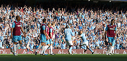 MANCHESTER, ENGLAND - Sunday, May 1, 2011: Manchester City's Nigel De Jong celebrates scoring the opening goal against West Ham United during the Premiership match at the City of Manchester Stadium. (Photo by David Tickle/Propaganda)