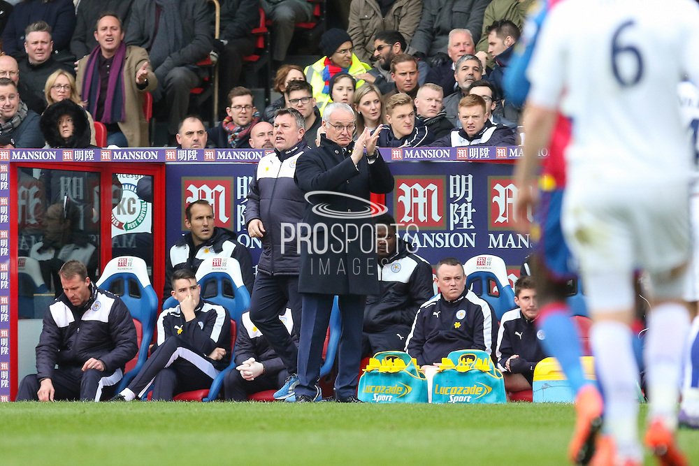 Leicester City Manager Claudio Ranieri during the Barclays Premier League match between Crystal Palace and Leicester City at Selhurst Park, London, England on 19 March 2016. Photo by Phil Duncan.