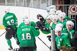 SZ HK Olimpija players celebrate during Ice Hockey match between HK SZ Olimpija Ljubljana and HDD Jesenice in Round #24 of Alps Hockey League, on December 22, 2018 in Hala Tivoli, Ljubljana, Slovenia. Photo by Ziga Zupan / Sportida