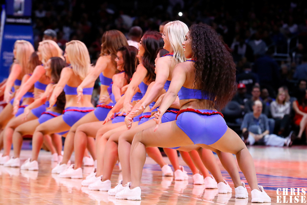10 November 2014: The Clippers Spirit Dance Team performs during the San Antonio Spurs 89-85 victory over the Los Angeles Clippers, at the Staples Center, Los Angeles, California, USA.