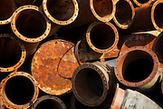 Pile of rusty pipes.