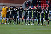 Minutes silence for Paris during the Sky Bet League 2 match between Leyton Orient and York City at the Matchroom Stadium, London, England on 21 November 2015. Photo by Simon Davies.