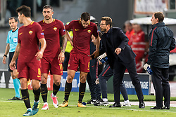 coach Eusebio Di Francesco of AS Roma give instructions to Kevin Strootman of AS Roma during the UEFA Champions League group C match match between AS Roma and Atletico Madrid on September 12, 2017 at the Stadio Olimpico in Rome, Italy.