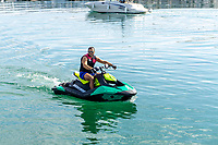 Man on jetski in harbour, Puerto Banus, Marbella, Malaga Province, Spain, October, 2019, 201910121730<br />