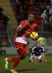 Leyton Orient's Kevin Lisbie celebrates scoring his sides first goal 1-1 - Photo mandatory by-line: Robin White/JMP - Tel: Mobile: 07966 386802 11/02/2014 - SPORT - FOOTBALL - Leyton - Brisbane Road - Leyton Orient v Bristol City - Sky Bet League One