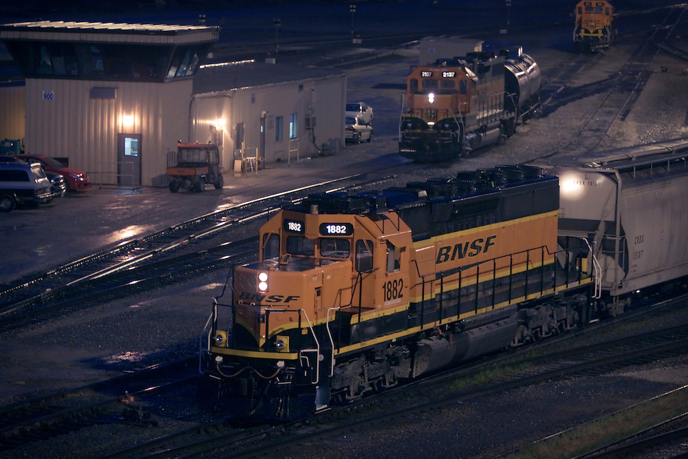 A pair of yard switchers go about the business of classifying freight in BNSF's giant yard in Galesburg, IL.