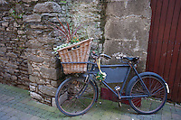 Old bicycle with basket and flowers