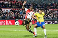 ROTTERDAM - Feyenoord - SC Cambuur , Voetbal , Seizoen 2015/2016 , Eredivisie , Feijenoord Stadion De Kuip , 06-03-2016 , Speler van Feyenoord Eljero Elia (l) scoort de 3-1 in duel met  SC Cambuur speler Marvin Peersman (r)