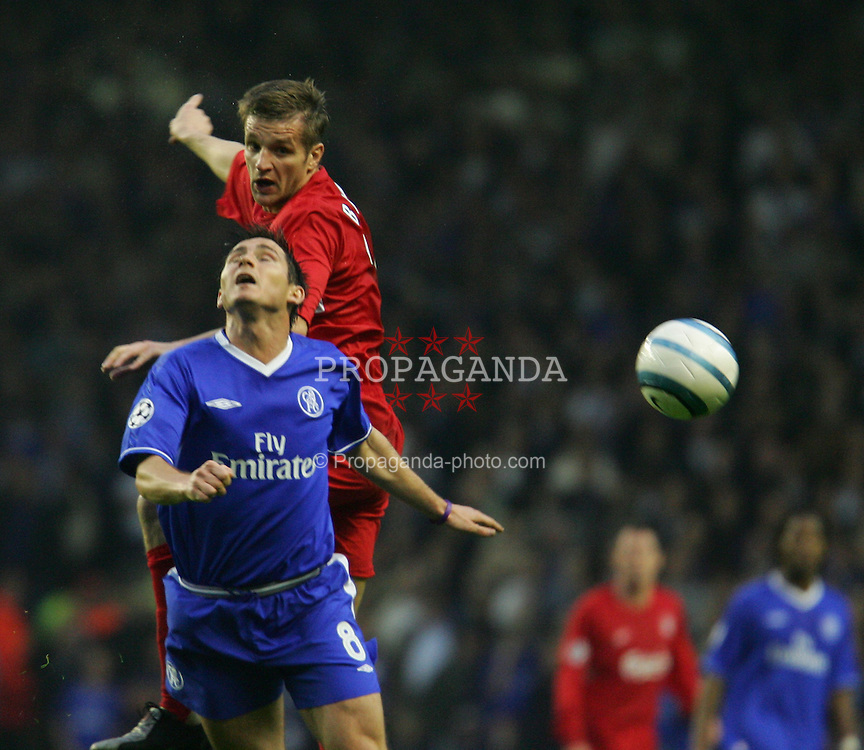 LIVERPOOL, ENGLAND. TUESDAY, MAY 3rd, 2005: Liverpool's Igor Biscan and Chelsea's Frank Lampard during the UEFA Champions League Semi Final 2nd Leg at Anfield. (Pic by David Rawcliffe/Propaganda)