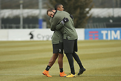 March 6, 2018 - Vinovo, Piedmont, Italy - Gonzalo Higuain (Juventus FC) and Douglas Costa (Juventus FC) during the training on the eve of the second leg of the Round 16 of the UEFA Champions League 2017/18 between Juventus FC and Tottenham Hotspur FC at Juventus Training Center on 06 March, 2018 in Vinovo (Turin), Italy. (Credit Image: © Massimiliano Ferraro/NurPhoto via ZUMA Press)