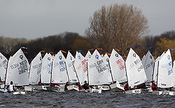 08_0132_OPTI_EASTER © Sander van der Borch BRAASSEMMERMEER THE NETHERLANDS, 21 March 2008. 23rd Magic Marine International Easter Optimist Regatta 2008. 214 Opti sailors from around Europe and the USA race on a small Dutch lake.