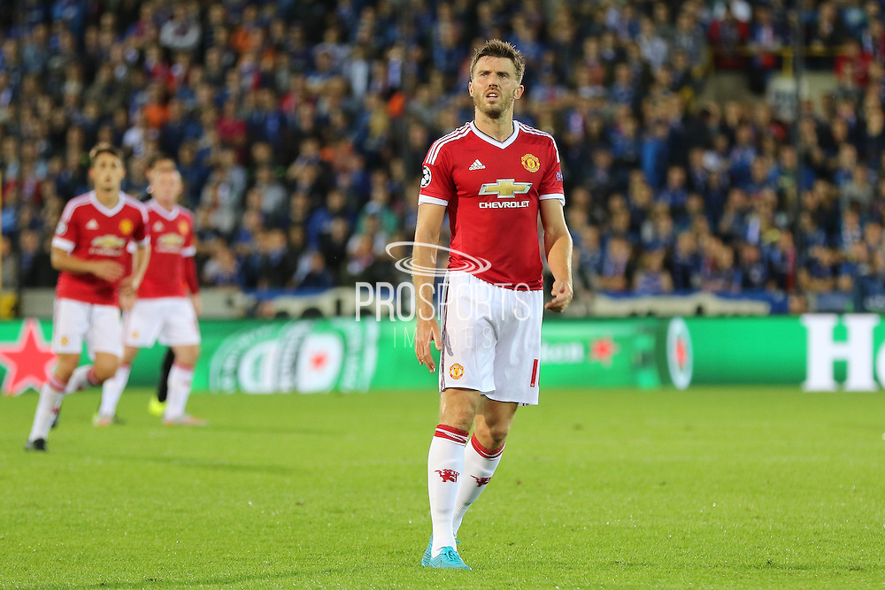Michael Carrick during the Champions League Qualifying Play-Off Round match between Club Brugge and Manchester United at the Jan Breydel Stadion, Brugge, Belguim on 26 August 2015. Photo by Phil Duncan.
