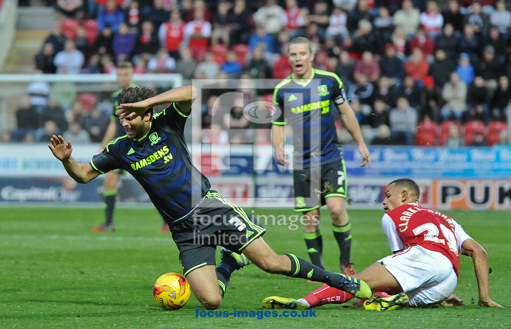 Jonson Clarke-Harris of Rotherham United brings down George Friend of Middlesbrough during the Sky Bet Championship match at the New York Stadium, Rotherham<br /> Picture by Richard Land/Focus Images Ltd +44 7713 507003<br /> 01/11/2014