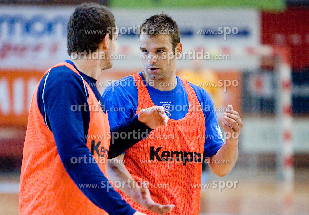 Bostjn Kavas and Matjaz Brumen at practice of Slovenian Handball Men National Team, on June 4, 2009, in Arena Kodeljevo, Ljubljana, Slovenia. (Photo by Vid Ponikvar / Sportida)