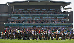 LIVERPOOL, ENGLAND, Saturday, April 9, 2011: Runners and riders at the starting line for the start of the Grand National during Day Three of the Aintree Grand National Festival at Aintree Racecourse. (Photo by David Rawcliffe/Propaganda)