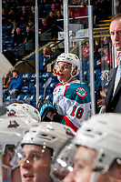 KELOWNA, CANADA - JANUARY 30: Carsen Twarynski #18 of the Kelowna Rockets hams it up on the bench against the Medicine Hat Tigers on January 30, 2017 at Prospera Place in Kelowna, British Columbia, Canada.  (Photo by Marissa Baecker/Shoot the Breeze)  *** Local Caption ***