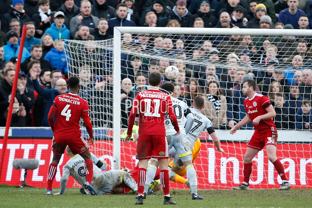 Goal scored by  Derby County forward Martyn Waghorn (9) during the The FA Cup fourth round match between Accrington Stanley and Derby County at the Fraser Eagle Stadium, Accrington, England on 26 January 2019.