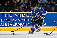 KELOWNA, CANADA - DECEMBER 30: Ryan Gagnon #3 of the Victoria Royals skates with the puck from behind the need against the Kelowna Rockets on December 30, 2016 at Prospera Place in Kelowna, British Columbia, Canada.  (Photo by Marissa Baecker/Shoot the Breeze)  *** Local Caption ***