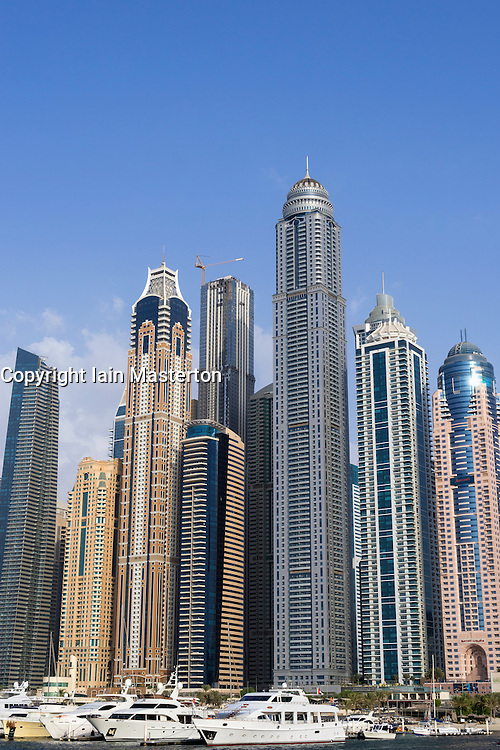 Skyline of skyscrapers in Marina district in Dubai United Arab Emirates
