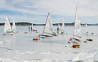 Ames Farm beach was filled with visitors from the New England Yacht Association for a day of ice sailing on Lake Winnipesaukee on Monday.(Karen Bobotas/for the Laconia Daily Sun)