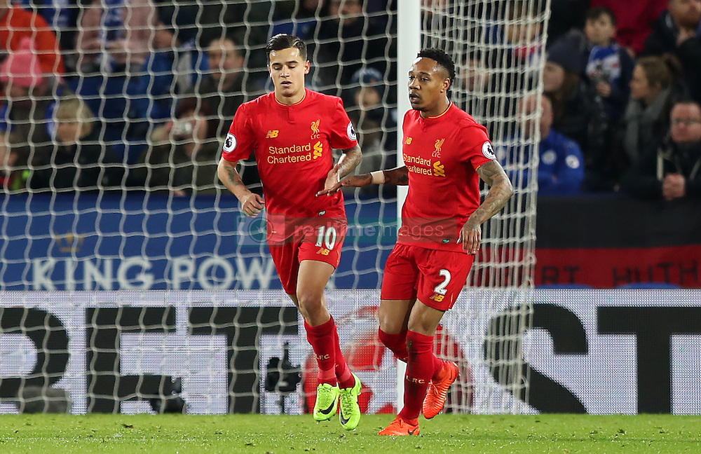 Liverpool's Philippe Coutinho (left) celebrates with team-mate Nathaniel Clyne after scoring his side's first goal