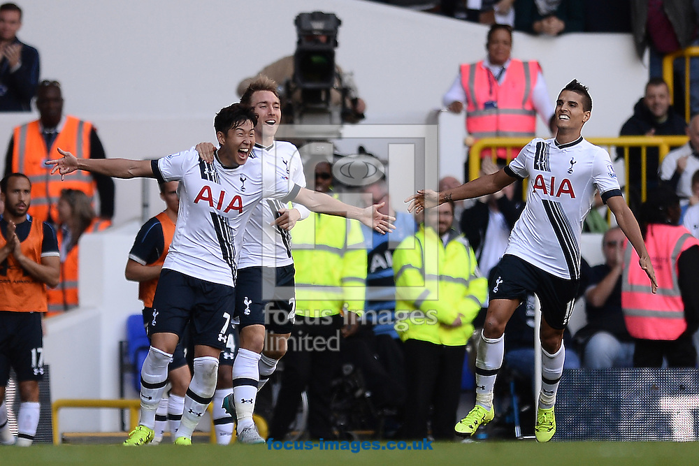 Son Heung-Min of Tottenham Hotspur (left) celebrates scoring his sides first goal to make the scoreline 1-0 with Christian Eriksen of Tottenham Hotspur during the Barclays Premier League match between Tottenham Hotspur and Crystal Palace at White Hart Lane, London<br /> Picture by Richard Blaxall/Focus Images Ltd +44 7853 364624<br /> 20/09/2015