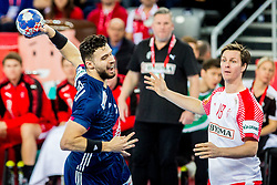 Nadim Remili (FRA) and Hans O. Lindeberg (DEN) during handball match between National teams of France and Denmark in Bronze medal match of Men's EHF EURO 2018, on January 28, 2018 in Arena Zagreb, Zagreb, Croatia . Photo by Ziga Zupan / Sportida