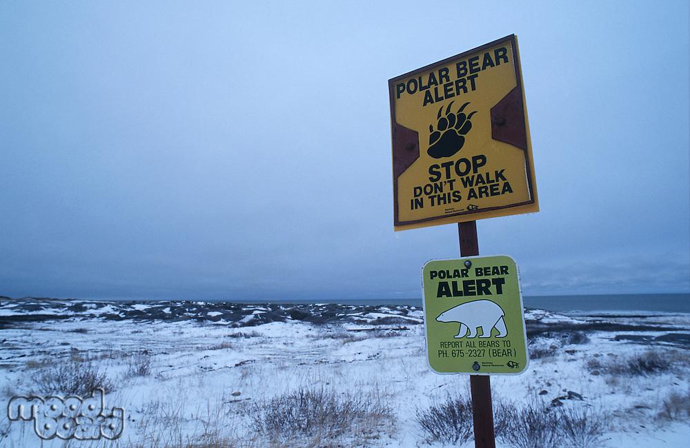 Canada Beach of Churchill Polar Bear information sign