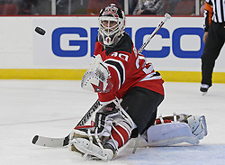 Apr 10, 2010; Newark, NJ, USA; New Jersey Devils goalie Martin Brodeur (30) makes a glove save during the second period of their game against the Islanders at the Prudential Center.