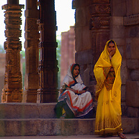 Women in Saris, Qutb Minar, Delhi, India, photograph photography