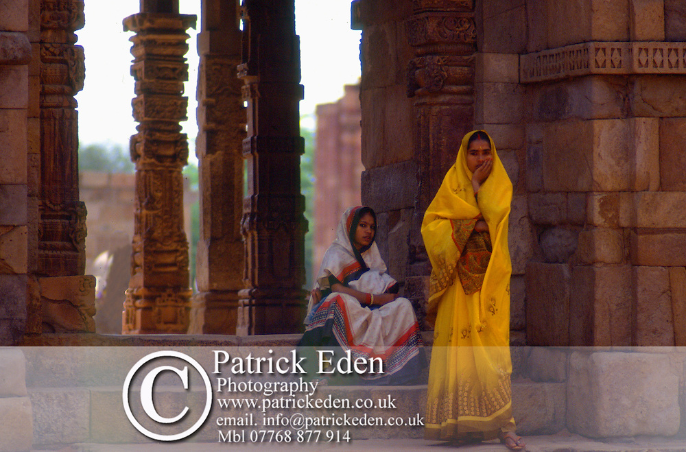 Women in Saris, Qutb Minar, Delhi, India, photograph photography