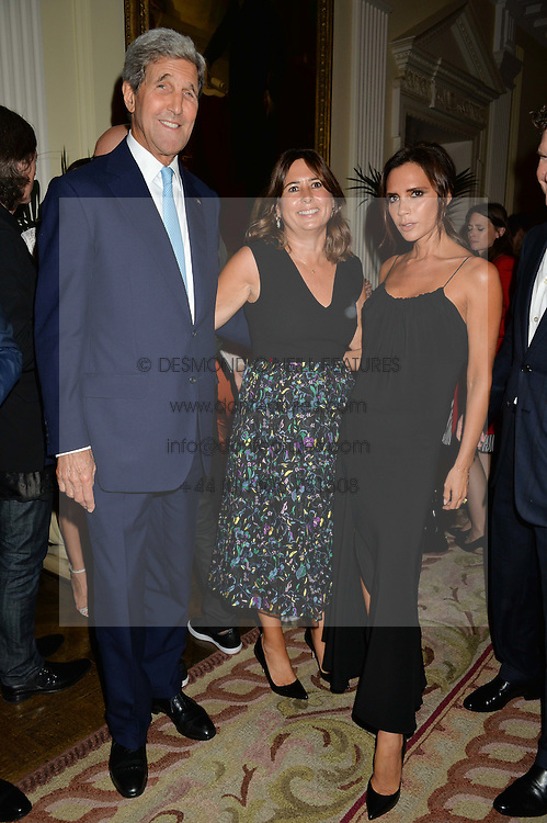 Left to right, US Secretary of State JOHN KERRY, ALEXANDRA SHULMAN and VICTORIA BECKHAM at a party to kick off London Fashion Week hosted by US Ambassador Matthew Barzun and Mrs Brooke Brown Barzun with Alexandra Shulman in association with J.Crew hrld at Winfield House, Regent's Park, London on 18th September 2015.
